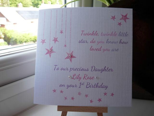 Handmade Personalised 1st Birthday Card Girls Daughter 2 3 Twinkle Niece
