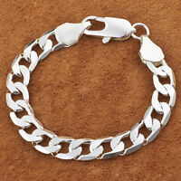 1PC Sterling Silver Plated 6MM & 8MM Chain Charm Men Bracelet & Bangle Jewelry