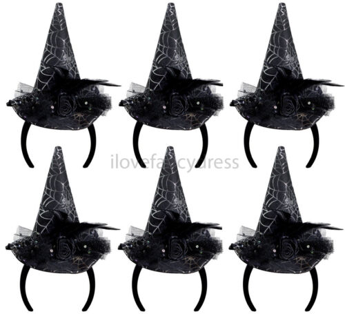 6 X MINI WITCHES HAT HEADBANDS COBWEB ROSE FEATHER HALLOWEEN GROUP FANCY DRESS