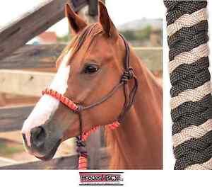 Classic-Equine-Rope-Halter-Black-Tan-Brown-Horse-Tack