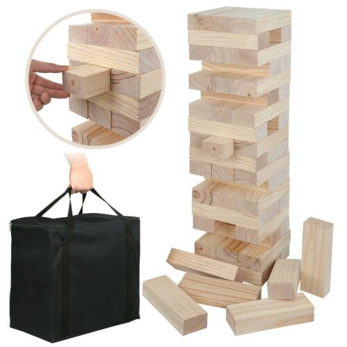 Giant Toppling Tower Outdoor Indoor Game Set for Party Amusement All Ages Unisex