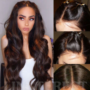 2-Dark-Brown-Full-Wig-100-Real-Remy-Indian-Human-Hair-Lace-Front-Wigs-Glueless