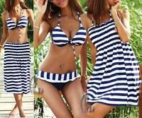 Striped Swimwear Skirt Dress Bikini+Cover Up 3 Pieces Swimsuit AU SELLER sw033