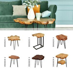 Details Sur Table D Appoint Table Basse Bois Massif Exotique Tronc Vitre Pieds En Metal