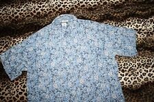 COLUMBIA SS Button Shirt XXL Hawaiin Hibiscus Blue Cotton