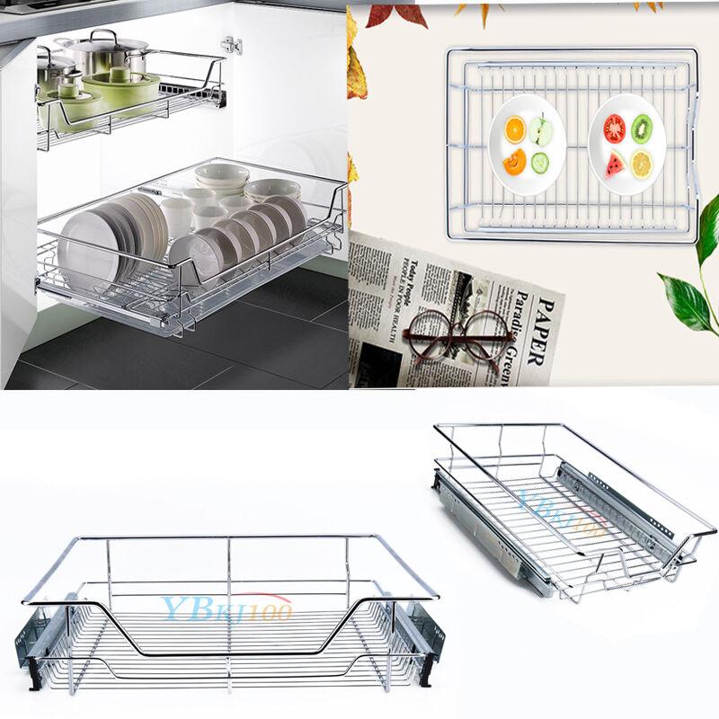 2 Of 11 Pull Out Wire Cargo Basket Kitchen Larder Storage Cupboard Drawer Food Organizer