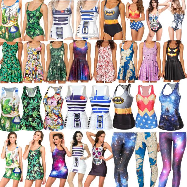 Sexy Women Costume Digital Printed One Piece Bikini Tank Top Short Skirt Dresses