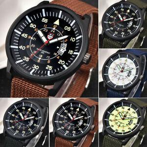 Herren-UHR-Nylon-Armband-Armbanduhr-Militaer-Nylon-Quarzuhr-Wasserdicht-Watc-E6Y5