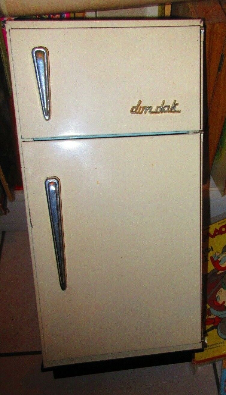 UNIQUE VINTAGE GREEK TIN B 0 REFRIGERATOR BY DIM-DAK FROM 60s