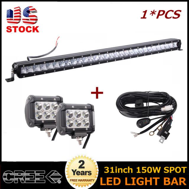 31inch 150W LED Singler Row Work Light Bar With 4'' 18W Spot Pods Truck GMC 32/4