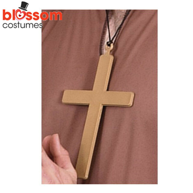 AC300 Gold Large Cross Priest Religious Monk Nun Crucifix Tuck Costume Necklace