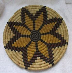 Hopi Indian 2nd Mesa Hand woven Coiled Star Pattern Basket Tray Vintage