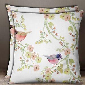 Canape-Taie-D-039-Oreiller-En-De-Coton-Blanc-Imprime-Fleurs-Et-Oiseaux-Coussin