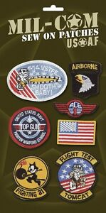 PACK-OF-US-AIRFORCE-BADGES-7-Top-Gun-army-military-sew-on-cloth-patches-on-card