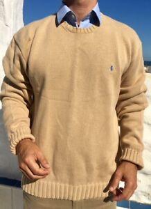 Maglione taglia beige Rrp Large Mens 120 girocollo Ralph Sand Lauren q0Owgg