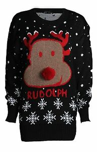 New-Ladies-Women-Rudolph-printed-Sweater-Sweatshirt-Jumper-Christmas-Xmas