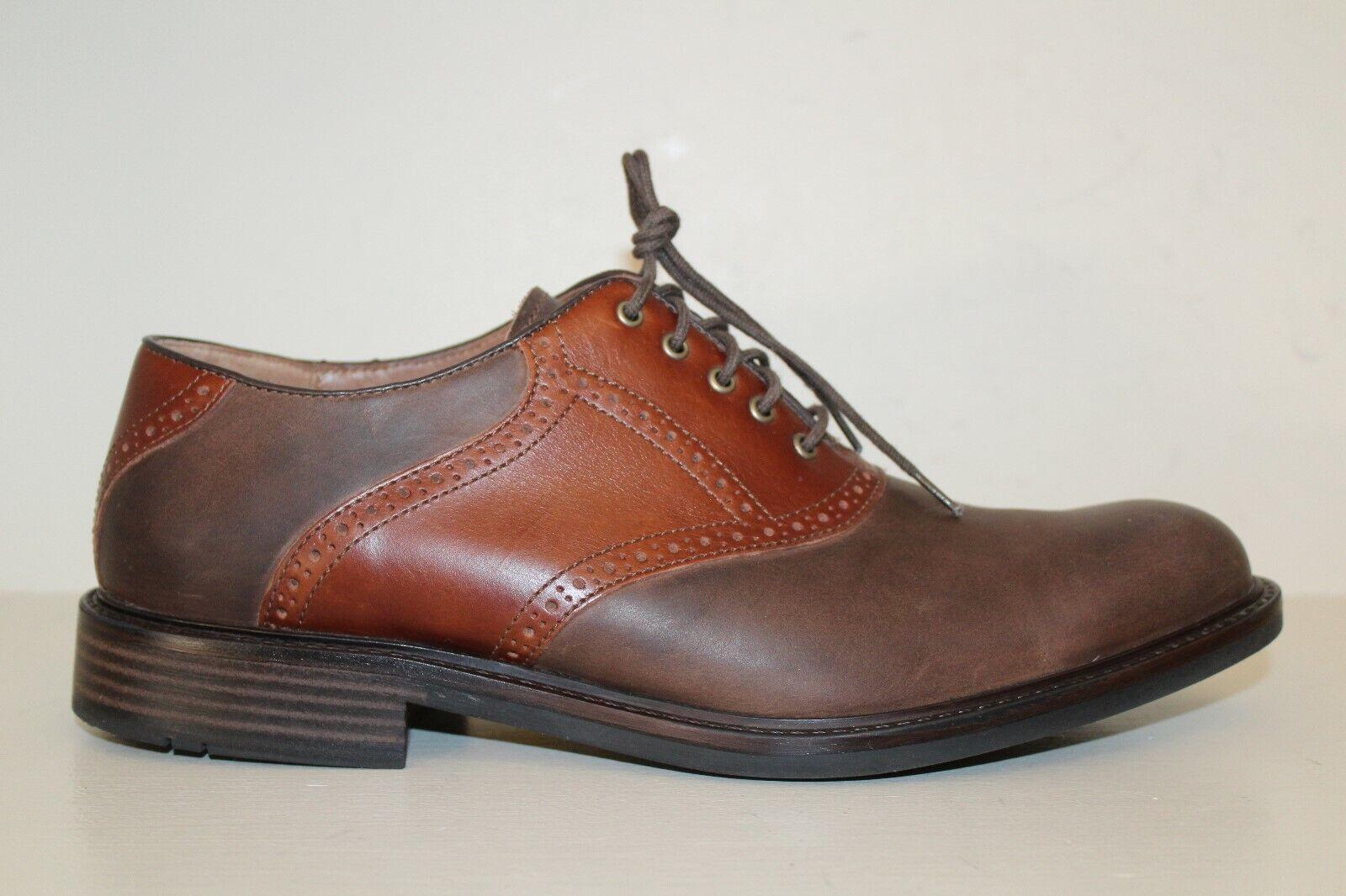Johnston Murphy Mens Saddle Oxford shoes Sz 11.5 M Brown Leather Plain Toe Lace