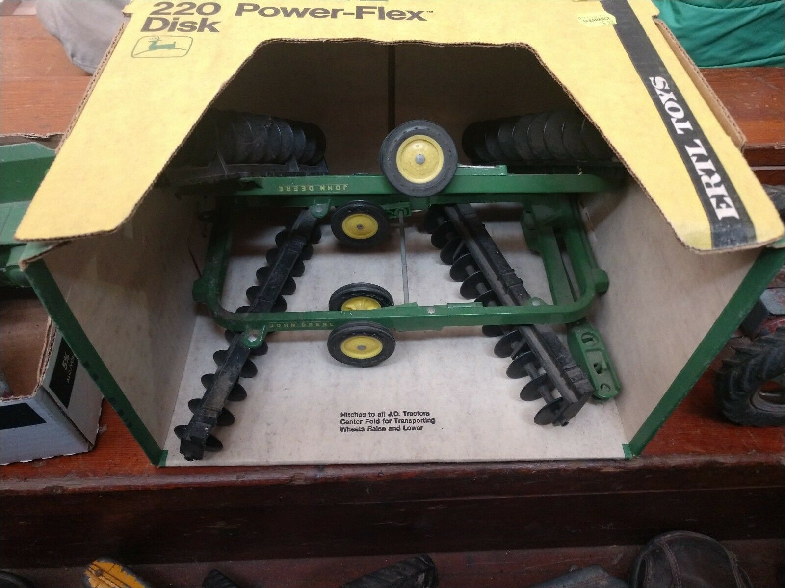 JOHN DEERE 220 POWER-FLEX FOLDING DISK in BOX ERTL ESKA Vintage Farm Toy JD DISC