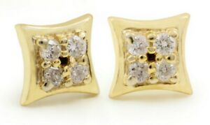 0.12 ct Natural Pave Diamond 5 MM 14K 18K Solid Gold Stud Earrings