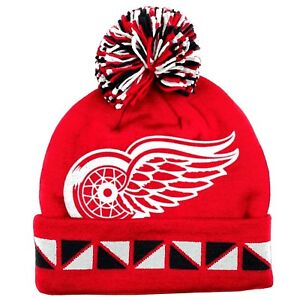 be5903f96ee DETROIT RED WINGS NHL CUFFED KNIT BEANIE HAT SKI CAP MITCHELL   NESS ...