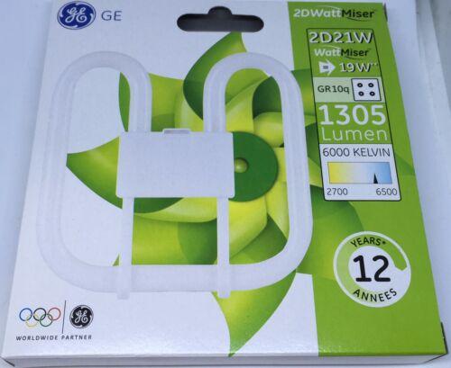 GE 21W 4 pin Daylight 2D Wattmiser 19W=21W cfl square 6000k 1305 lm plq 21 watt