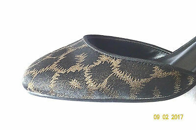 Marks & Spencer Negro/Oro Tira al Tobillo Zapatos Animal Print Eve