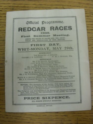20051939 Horse Racing Programme Redcar Races First Summer Meeting Official