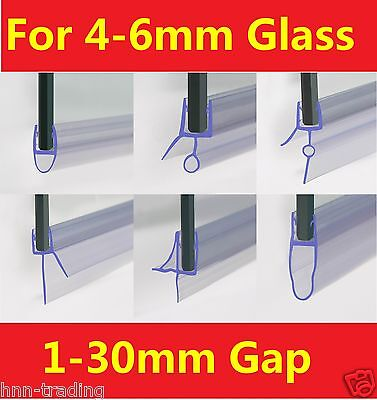 Shower Screen Seal Strip For 4-6mm Curved / Flat Glass Bath Door Up to 30mm Gap