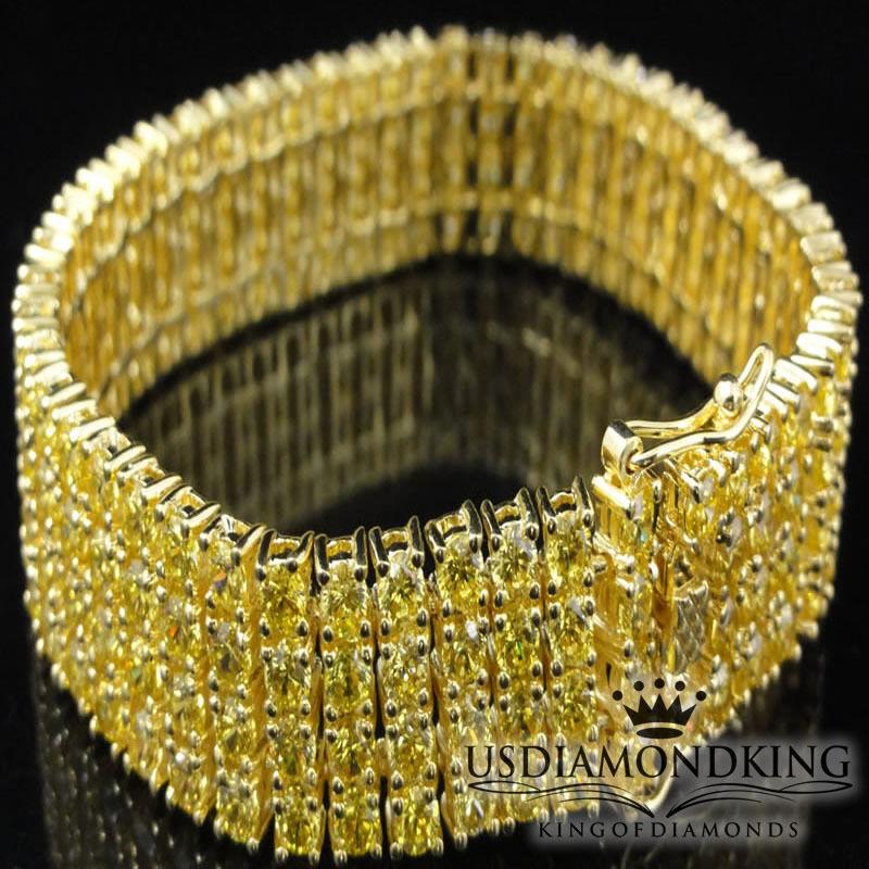 Men's Women's New 4 Row Yellow gold Finish Canary Cz's Tennis Bracelet 7.5 8.5
