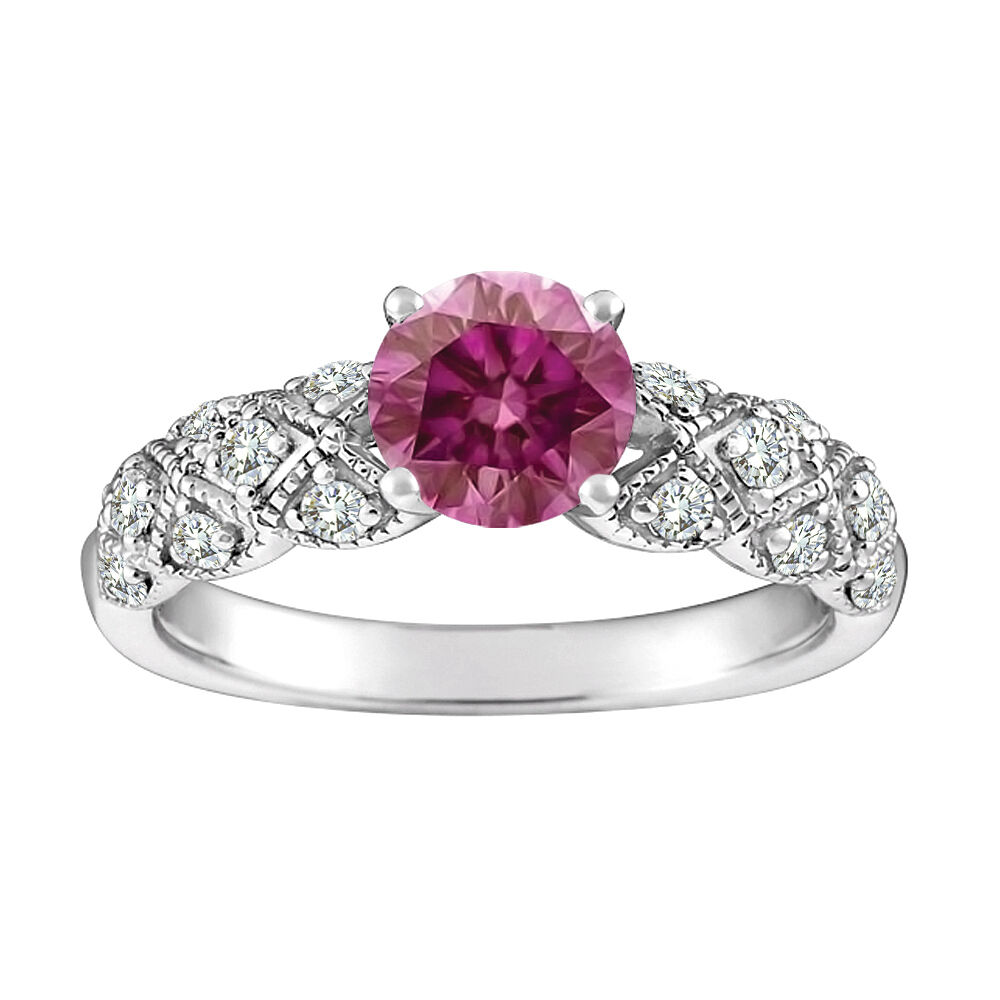 0.6 Carat Pink SI2 RD Solitaire Halo Ring 14K WG Valentineday Spl. Sale