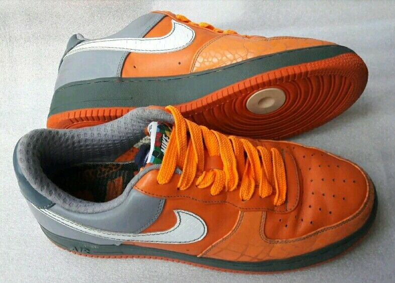 RARE NIKE AIR Obliger ONE CHOZ Taille 9.5 ORANGE/Gris LEATHER TRAINERS VGC FREE P&P