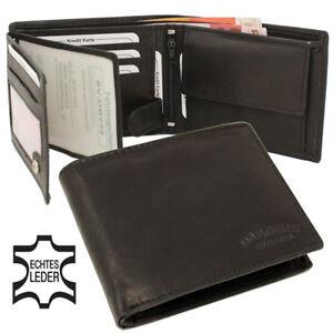 Leder-Geldboerse-Geldbeutel-Kombiboerse-Brieftasche-Scheintasche-Tasche-schwarz