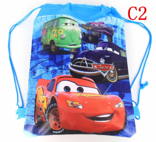 New Cute Cars McQueen Cartoon Drawstring Backpack Kids School Bag C2#