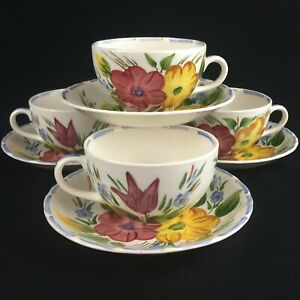 Set-of-4-VTG-Cups-and-Saucers-by-Simpsons-Potters-Belle-Fiore-Cobridge-England