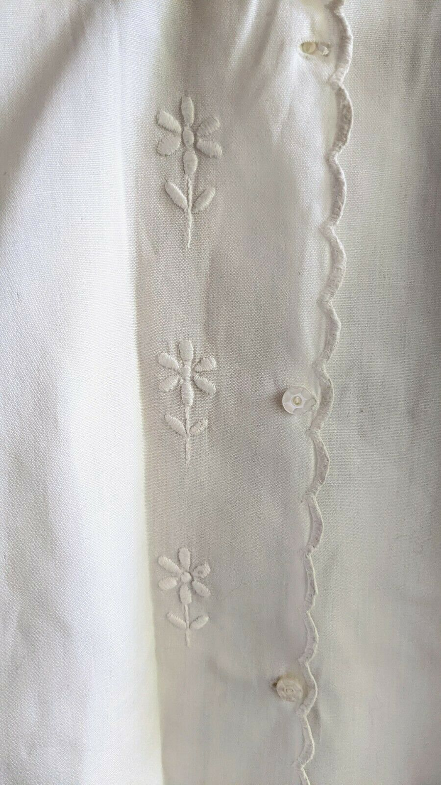 Antique Victorian Shirt White Blouse Embroidered … - image 2