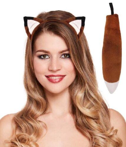 2 Pc Brown Fox Instant Dress Up Set Headband /& Tail Animal Fancy Dress Costume