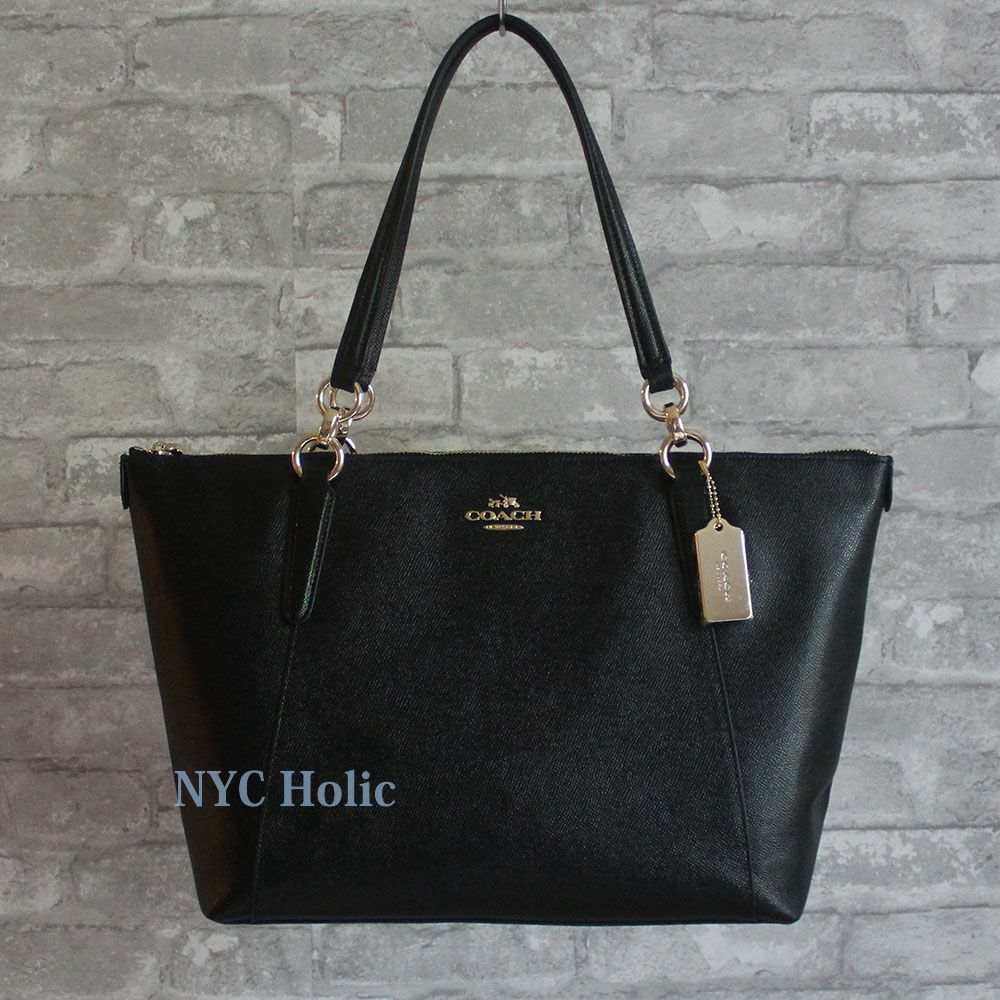 11a5a93e1fdaf Coach F57526 Ava Tote In Crossgrain Leather Black