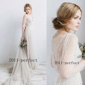 Bohemian Wedding Dress Sheer Sleeve Beading Tassel Beach Bridal Gown ...