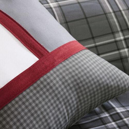 CLASSIC GREY BLACK RED WHITE PLAID CHIC COZY STRIPE SOFT COMFORTER SET /& PILLOWS