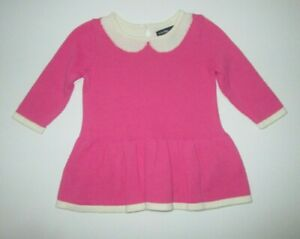 INFANT-GIRLS-BABY-GAP-PINK-SWEATER-KNIT-FAUX-COLLAR-DRESS-SIZE-0-3-MONTHS-2