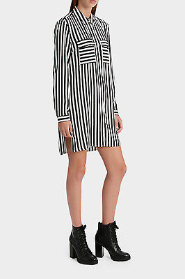 NEW Piper Striped Longline Shirt Blk/White