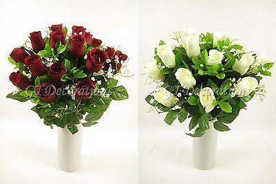 Fern and Gypsophila 41cm Artificial Silk Flower 18 head Rose Bush with Buds