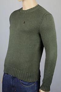 Polo Ralph Lauren Small S Green Crewneck Sweater Burgundy Pony NWT