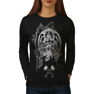 Wellcoda-North-Face-Guerrier-Femme-T-shirt-a-manches-longues-bataille-Casual-Design