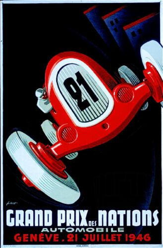 1946 Geneve Grand Prix Nation Art Automobile Race Advertisement Vintage Poster
