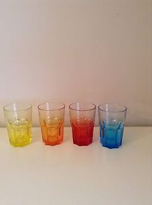 Set Of Four Coloured Glass Tumblers (new) fMQjiXz6-09122050-314578511