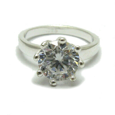 Sterling silver ring Flower solid 925 with CZ R001656 Empress
