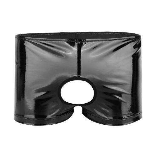 Glänzend Herren Boxershort Lackleder Boxer Brief Trunk Unterwäsche mit Penisloch