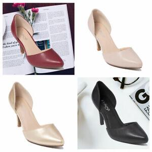 21b220c5b367f Women's Slip on pointed toe Med Slim Heel D'Orsay Pump Dress Summer ...