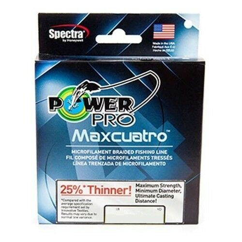 Power Pro Maxcuatro Braid Fishing Line 50 lb Test 500 Yards HiVis giallo 50lb